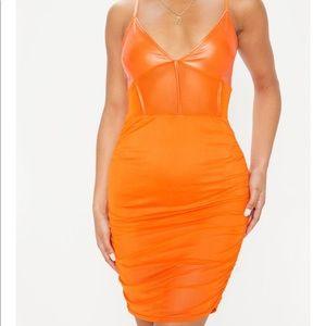 Orange ruched dress